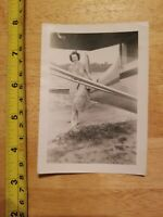 RARE OLD VINTAGE PHOTO LADY STANDING BY AIRPLANE