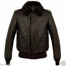 A-2 Bomber US Air Force Flight Aviator Brown Cowhide Leather Jacket Fur Collar