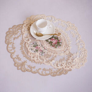 1Pc Lace Embroidery Heat Insulation Mat Coffee Anti-scald Coaster Table PlacYRZ