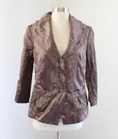 Soma Brown Crinkle Utility Style Blazer Jacket Size S Drawstring