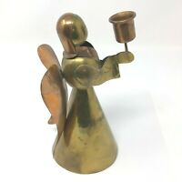 "Brass Copper Patina Angel Candle Holder Vintage 8"" Mexico"