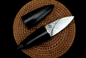 """Mini Drop Point Knife Hunting Wild Combat Tactical Damascus Steel Wood Handle 2"""""""