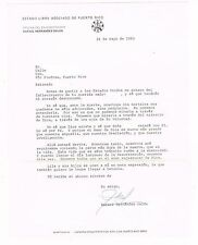Carta De Condolencias De Rafael Hernandez Colon Puerto Rico 83 Signature Firma