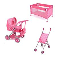 Kids Snuggles Toy Pink Pram Buggy Stroller Baby Doll Travel Cot Set