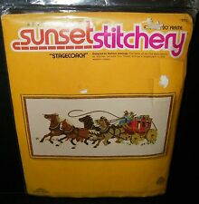 Vtg Dimensions Sunset Cross Embroidery Kit Stagecoach Wild West Horse Wagon NIP