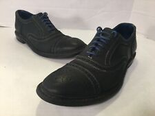 Allen Edmonds Strandmok Cap-Toe Oxfords 9.5 D Black Leather Blue Danite Sole