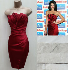 Size 12 UK Exquisite Karen Millen Ruby Red Folded Satin Strapless Wiggle Dress