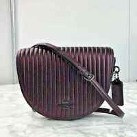 Coach Linear Quilted Cowhide  Metallic Crimson Crossbody Saddle Bag ~$428 tag