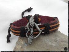 Bracelet Porte Bonheur Style Surfeur Cuir Noir Chanvre Marron Coeur Lovely