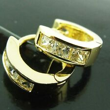 FS188 GENUINE REAL 18K YELLOW G/F GOLD SOLID SIMULATED DIAMOND HOOP EARRINGS