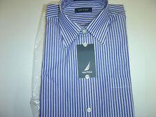 NEW MENS NAUTICA  BLUE & WHITE STRIPED DRESS SHIRT SIZE 15 32/33