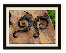 STICK Gauge Organic Tribal Black Horn Earrings  Spiral Earring Cheater Expander