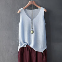 Lady Linen Cotton Knitted Loose Tank Tops Vest Camisole V Neck Sleeveless Shirt