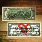 "Open Heart Red Graffiti ""You Are Loved"" Genuine $2 Bill Rency Art LTD # of 66"