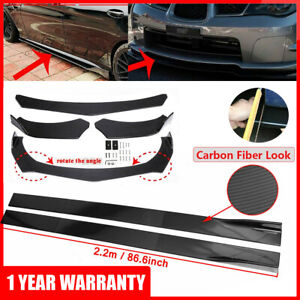 """For Infiniti Carbon Fiber Front Bumper Lip Spoiler Splitter+86.6"""" Side Skirt Kit"""