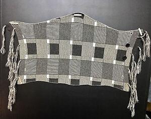 B.Son San Francisco Square Check Plaid Tartan Gray Winter Wool Scarf Muffler