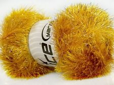 100 Gram Gold Eyelash Dazzle Yarn #42259 Ice Metallic Fun Fur 153 yds