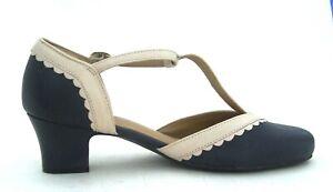 Hotter Viviene Heels Navy & Cream Leather Shoes UK Size: 6.5