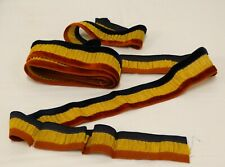 "ANTIQUE EDWARDIAN Striped RIBBON Velvet & Gold Metallic Ruched 106"" L x 1-5/8"" W"