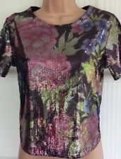 NEW - NEW LOOK 6 black and multi colour floral sequin t-shirt tunic party top