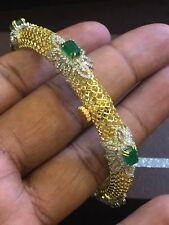 Pave 7.40 Cts Round Brilliant Cut Diamonds Emerald Bracelet In Hallmark 14K Gold