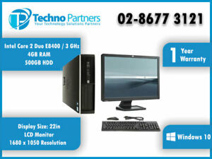 """Computer Package HP Elite 8000/6000 Core 2 Duo 4G 500G Win10 22"""" LCD Monitor"""