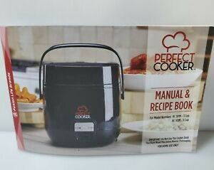 Perfect Cooker Portable One Touch Cooking Smart Tech Recipe Book 3 Cup Black