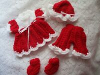 """Doll Clothes Handmade Red Outfit 4pc for baby 10"""" fit Berenguer 9"""""""