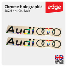 2 X AUDI RINGS NEW LOGO CHROME HOLOGRAPHIC VINYL CAR DECALS STICKERS
