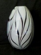 Large hand blown Zebra stripes black & white studio art glass vase #2,  9.25 in