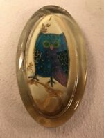 Vtg 1960-70's Retro Glass Paperweight Funky Painted Gold Trim Wise Owl UNIQUE