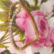 Round Cut Brilliant Moissanite Engagement Tennis Bracelet 14K Yellow Gold Plated