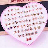 36Pairs/set Cute Mixed Flower Stud Earrings For Girls Women Flower Jewelry Gift