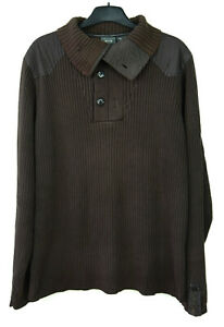G-STAR RAW Mens XL Brown Pullover Jumper Cotton Blend Knitted Casual Sweater Top