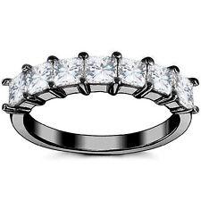 1.05Ct Unique Square Brilliant Cut Moissanite 7 Stone Wedding Band Ring 14K Bg
