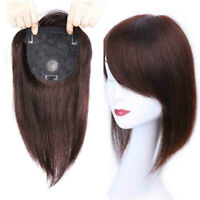 Hand Made Human Hair Topper with Bangs Women Straight Hairpiece Top Replacement