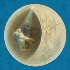 VICTORIAN CIRCULAR CHRISTMAS CARD BIBLE QUOTE TEXT, NATIVITY, ANGEL