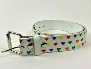 Vintage Y2K 2000's Belt Multicolor White Love Hearts Leather Adjustable Buckle L