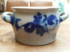 Vintage Butter Margarine Blue Salt Glazed Pottery Stoneware Crock Jar Westerwald