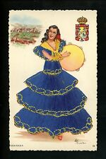 Embroidered clothing postcard Artist Elsi Gumier, Spain, Granada woman music #10