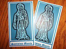 SANTISIMA MUERTE blue aspect PRAYER CARDS (dream card) HOLY DEATH santa SET OF 2