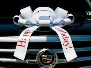 "Giant 30"" Big White ""Happy Birthday"" Magnetic Car Bow with red lettering"