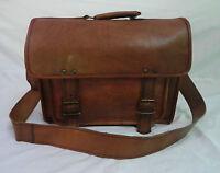 "11-18"" Handmade Real Brown Leather Briefcase Satchel Laptop Messenger Bag"
