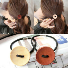 3pcs Women Simple Wood Elastic Hair Tie Rope Band Ponytail Holder Buttons In PIC