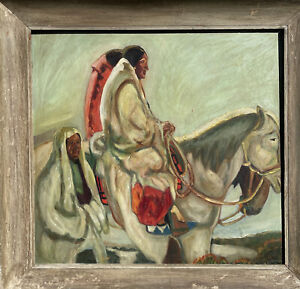 Antique Taos Indian On Horses Oil Painting Mystery Artist New Mexico Signed