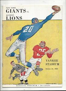10/21/1962 Detroit Lions vs New York Giants Program near mint (see scan)