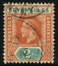 SG 82 SEYCHELLES 1917 - 2c CHESTNUT & GREEN - USED
