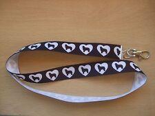 Handmade Border Collie Dog Lanyard Whistle Walking Training Puppy Key ID Hearts