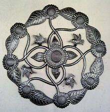 """Round Metal Decor Flowers and Birds Haitian Metal Art Haiti Products Online, 24"""""""