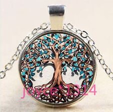 Living Tree of Life Cabochon Tibetan silver Glass Chain Pendant Necklace #3593